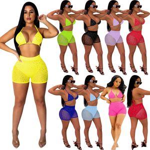 Kadınların Seksi Bikini 2 İki Adet kıyafetler Yaz Plaj Mayo payetler Açık sırt Bra şort mayo takım elbise gece kulübü parti giysiler örgü set