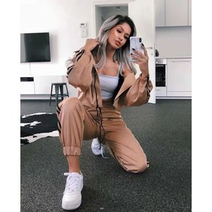 Womens Designer Tracksuits Cardigan Sports Suit Loose Side Leggings Harem Pants + Short Hooded Casual Sports Suit 2020 New Hot Selling