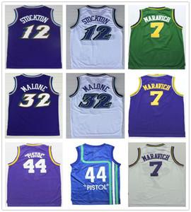 Cousu de haute qualité Jean 12 Stockton Jersey Retro Purple Blanc Karl 32 Malone Basketball 7 Pistol 44 Pete Maravich Jerseys College Chemises