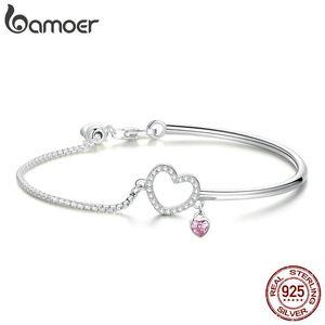 Bamoer Romantic New 100% 925 Sterling Silver Heart Pink Cz Chain Link Brazaletes Pulseras Para Las Mujeres Joyería de Plata Esterlina Scb117 J190722
