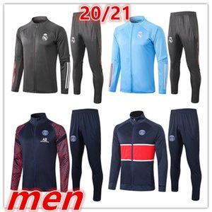 2020 2021 새로운 레알 마드리드 파리 축구 자켓 운동복 전체 지퍼 축구 재킷 운동복은 정장 키트 조깅 훈련 (20 명) (21) 남성을 설정