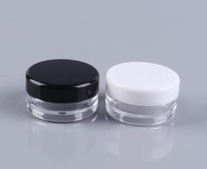 5G 5 ML Hohe Qualität Leere Klare Behälter Glas Topf Mit Schwarzen Deckel für Pulver Make-Up Creme Lotion Lippenbalsam / Glanz Kosmetische Proben