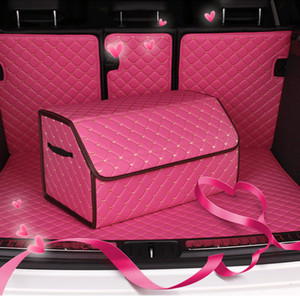 Pink Car Storage Bag Leather Trunk Organizer Box Storage Bag Folding High Capacity Multi-use woman Car Seat Universal Accessorie S M L