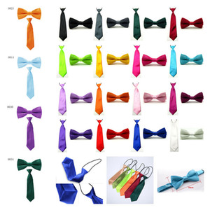 2 pcs Kid Baby Set Bowties Solid Elastic Ties NEW BowtiesNeck Tie School Gift Dress Prom Wedding Party Shirt DC94