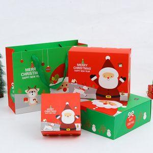 DIY Noel pişirme kağıt kutusu çantası set şeker mevcut çikolata kutusu ve çantası yaratıcı Noel hediyesi paket seti