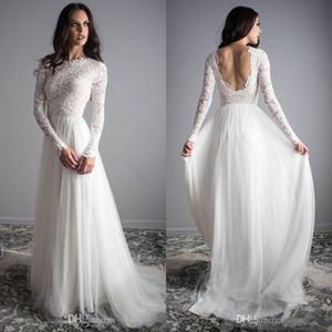 Boda de la boda larga de los vestidos de manga larga de encaje de tul de novia sin espalda al aire libre de los vestidos de la vendimia Vestidos Vestidos de novia