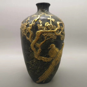 Freies Verschiffen Kupfer antike Sammlung alten Drachen und Phönix Vase Bronze Handwerk Messing vergoldet Verzierungen Magpie Dengmei