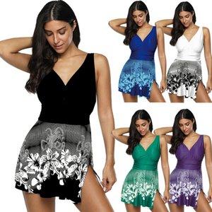 Plus Size Frauen Bauch-Steuer Badeanzug One Piece Padded Split Patchwork Swimdress Bademode 4 Farben