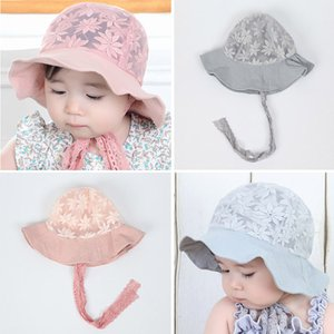 New Summer Baby Girl Hat Cap Lace Flower Cute Princess Baby Hat Kids Beach Bucket Hats Outdoor Infant Toddler Sun Visor Caps