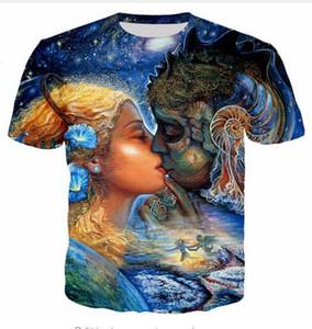 El más nuevo diseño para mujer / hombre Van Gogh Lona multicolor abstracta Manga corta divertida Camiseta de impresión 3D Unisex Estilo de verano Camiseta casual