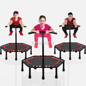 48 inch Silent Mini Trampoline with Adjustable Handle Bar Indoor Fitness Equipments Fitness Supplies Trampoline Bungee Rebounder Jumping Car
