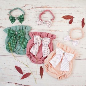 Cotton Baby Girl Bloomer Shorts Summer New Bowknot Toddler Diaper Cover Headband Set Bubble Newborn Baby Pants Clothes Spodenki CX200606