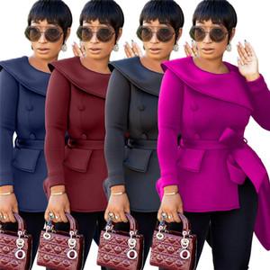 Chaqueta de las mujeres de color sólido cuello asimétrico de manga larga solapa outwear caída ocasional capa de la manera ropa de invierno nueva llegada del envío libre 1909
