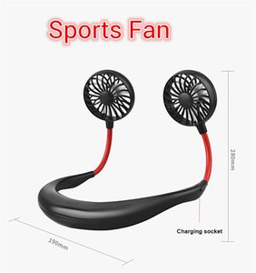 Portable Rechargeable Sports Fan Hanging Neck Fan Neckband Lazy Neck Hands Free Hanging Dual Cooling 360 Degree Rotating