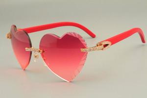 2019 freies Verschiffen herzförmige geschnitzte Sonnenbrille Mode Diamant Serie Natürliche rot Holz Tempel Sonnenbrille 8300686 - a Größe: 58-18-135mm