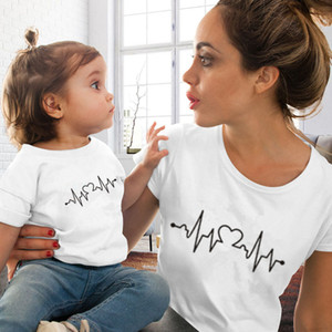Cotton T-shirt Funny Mommy and Me Clothes Love Printed Family Matching Clothes Mom and Daughter T-Shirt Matching Family Outfits