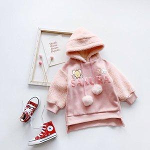 Luva longa carta a primavera e no inverno da flor de cerejeira rosa doce vestido de camisola das meninas Lambskin costura além de veludo de algodão Jacket Girls'