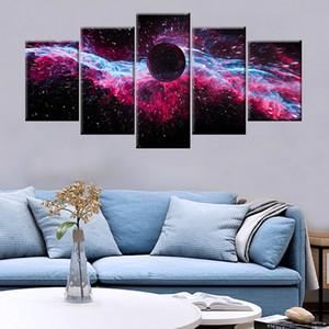 Dış Uzay Modüler İçin Modern Dekoratif Oturma odası Ana Wall Art Decor Güzellik Boyama 5 adet HD Baskı