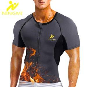 NINGMI Mens Neoprene Body Shaper Waist Trainer Warm Sports Top Tummy Slimming Vest Modeling Belt Shapewears Shirts Zipper Jacket Y200706