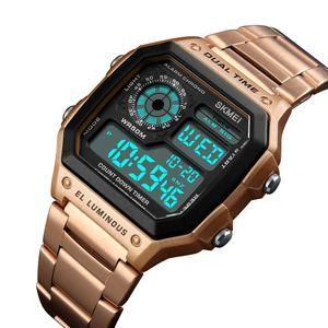 SKMEI Rose Gold-Mann-Uhren wasserdichte beiläufige Uhr-Edelstahl-Digital-Armbanduhr Uhr Relogio Masculino Erkek Kol Saati