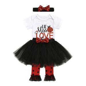 عيد الحب للأطفال طفلة بلايز + تول تنورة + العصابة + تدفئة الساق الملابس 0-24M