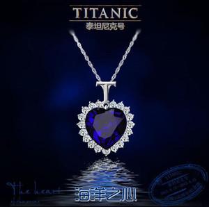 Ocean Heart Colgante, Collar Plateado Cadena Gargantilla Collares Azul Crystal Rhinestone Imitación Cristal Collar