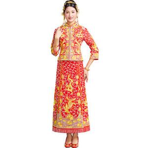 Costume de style chinois robe de mariée robe de mariée dragon Phoenix cheongsam robe de soirée montrent des vêtements slim Style pour le mariage