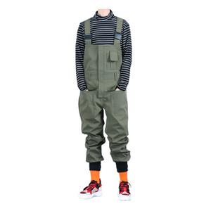 Gevşek hip hop elastik bel jumpsuits Tulumlar Ordu yeşil Siyah tulum önlük Sokotoo Erkek cepler kargo Joggers