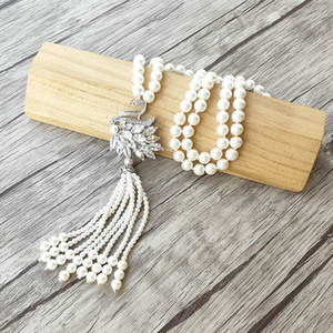 Swan charme pingente CZ Micro pavimentar Connector, Shell Natural Pérola Beads cadeia borlas colar de jóias mulheres NK504