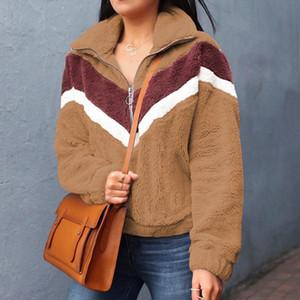 Al por mayor-Nadafair informal de lana con capucha de las mujeres 2019 remiendo postal de piel falsa de gran tamaño invierno mullido con capucha femenina más el tamaño de Jerseys