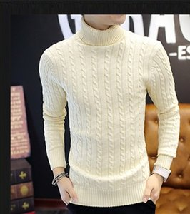 New Autumn winter men Fashion Casual Sweater Turtleneck Twisted stripe Slim Fit Knitting Mens Sweaters & Pullovers