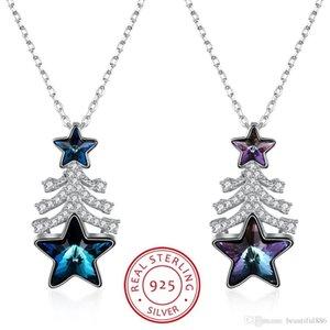 Swarovski Eleman S925 Gelen kristaller Gümüş Noel Sıcak Stil Hediye Noel ağacı Yıldız Kristal Karakter Kolye Kolye