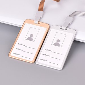 Card Holder Vertical Style Aluminum Alloy ID Name Card Case Business Work Card Badge Holder with Lanyard