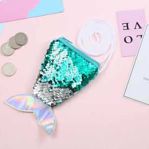Little Girls Paillette Wallet Gift Pocket Coin Purse Girls kids Mermaid Pouch Shoulder Bags Zipper Toys
