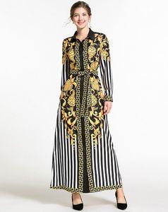Vestito della signora del progettista di marca di fascia alta Moda europea e americana Stampa vintage vestito a maniche lunghe metà-lungo new261 #