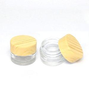 5мл 8ml Clear Glass Крем Воск густое масло Контейнер Wood Grain Пластиковые Стеклянная крышка баночки бак Косметические Jar Контейнеры Упаковочная коробка