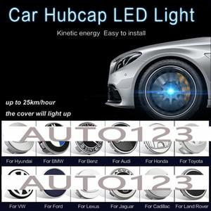 4 배 세트 자동차 휠 타이어 센터는 BMW 렉서스 포드 메르세데스 벤츠 닛산 폭스 바겐 도요타 혼다 현대 아우디을위한 허브 LED 블루 라이트 커버 후드 램프 캡