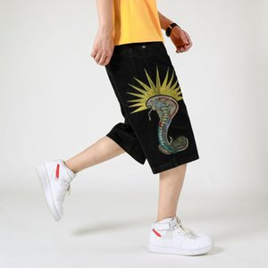 Mens Hiphop Denim Baggy fit Jeans designer Loose Snake embroidery Big size Black Shorts Male