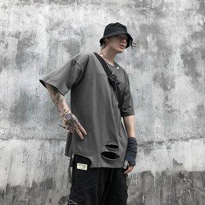 Mens Holes T shirts Mens Designer Tshirt Street Hiphop Style Tear Womens Short Sleeve Tops Summer