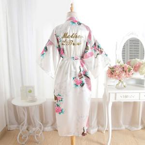 BZEL madre del vestido de novia camisón Batas floral del traje de boda satén de las mujeres kimono atractivo de la nueva mujer Albornoz para el partido de boda