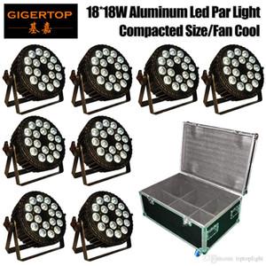 Gigertop 8 Paketi 18X18W Fan Led Par Işık Alüminyum Par Kapları Güç Kilidi ABD / AB / AU / UE Tak Düz Sıkıştırılmış Boyut Yüksek Parlaklık Döküm Soğuk