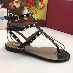 2019 designer frauen aus echtem leder flache partei mode nieten mädchen sexy nackten füßen schuhe hochzeit schuhe doppel straps sandalen größe 35-41