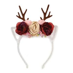 Antlers Blumenkrone Stirnband-Weihnachtsfest-Dekor-Baby-Tuch-Diadem Gewebe-Blumen-Tiara Haarband Kinder Frauen-Abendkleid