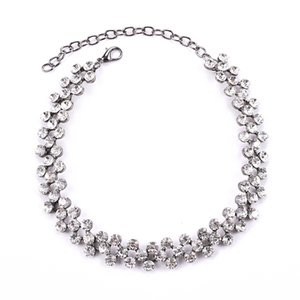 Luxo Cheio de Cristal Rhinestone Gargantilha Colares para As Mulheres Curtas Clavícula Gola Cadeia Meninas Presente Jóias de Casamento Collier Femme