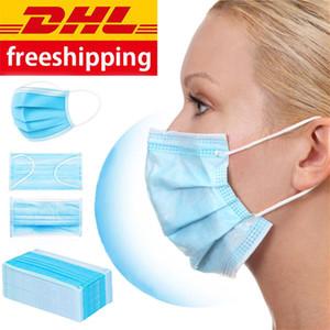 100 Unids máscaras a prueba de polvo con pendientes elásticos 3 Capas Desechables Anti polvo boca Máscaras protectoras Envío de DHL