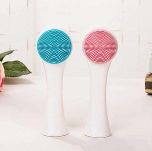 Silicone Facial Wash Cleansing Instrument Manual Cleansing Brush Soft Hair Silicone Double-sided Massage Wash Brush Manual Beauty