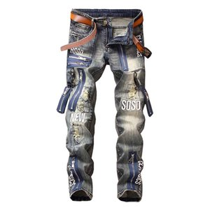 Mcikkny Moda erkek Hip Hop Yırtık Kot Pantolon Erkek Için Çok Fermuar Patchwork Denim Pantolon Mektubu Işlemeli