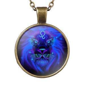 Simple 12 constelaciones del zodiaco Leo Time Gem Glass Cabochon Necklace Cadena de eslabones largos Gargantilla para las mujeres de los hombres El mejor regalo de cumpleaños joyería