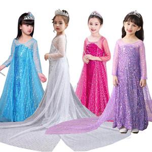 Pailleté avec Cape filles Costume robe Trailing Snow Queen Princess2 Robe longue avec Fantas train Halloween Party de Noël Cosplay10pcs