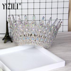 Yizili New Luxury Big European Bride Wedding Crown splendida Crystal grande rotondo regina corona accessori per capelli da sposa C021 J190701